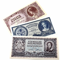 3 x 1946 Hungary notes Milkpengo in Extra Fine or better. 3pcs