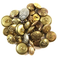 32x Assorted Canada Metal Military Buttons, 32Pcs