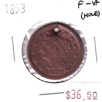1853 USA Penny, F-VF (Hole)