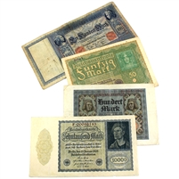 Group Lot of 4x Germany 1910-1922 Banknotes Fine to VF, 4PCS (Impaired)