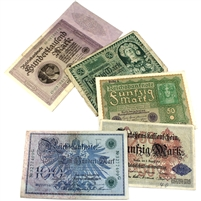 Group Lot of 5x Germany 1914-1923 Banknotes Fine or EF, 5PCS (Impaired)