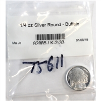 Indian/Buffalo 1/4oz. .999 Fine silver round. No Tax