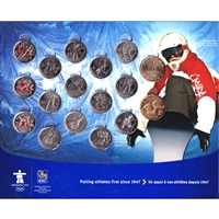 2010 Vancouver Olympics 17-coin Set in a Royal Bank Collector Board (Some Coloured)