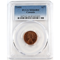 1959 Canada 1-cent PCGS Certified MS-66 Red.