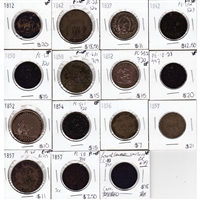 Tokens Ranging from 1844 to 1857. All Coins Attributed, Please View Images. 15Pcs.