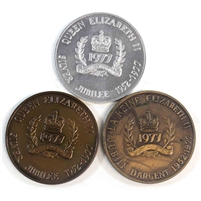 Lot of 1977 Queen Elizabeth Silver Jubilee Tokens, 3Pcs