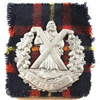 Cameron Highlanders Bonnet Cap Badge with Tartan