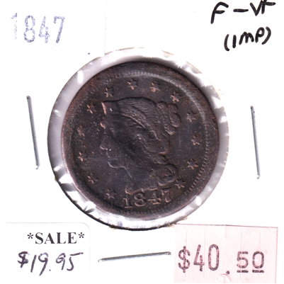 1847 USA 1-Cent, F-VF (Impaired)