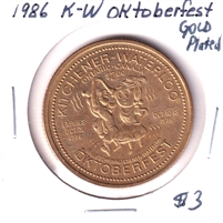 1986 Kitchener-Waterloo, Ontario, Oktoberfest $2 Gold-Plated Trade Dollar