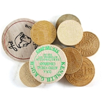 875J - Mixed lot of 10 x wooden tokens.