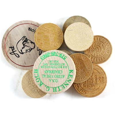 875J - Mixed lot of 10 x wooden tokens. Guaranteed all Different