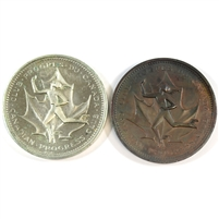 Pair of 1867-1967 Canadian Progress Club Celebrates Centennial Medallions - 2 Metals
