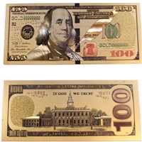 Gold Plated USA $100 Benjamin Franklin Commemorative Novelty Note