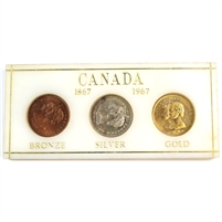 1867-1967 Canada Centennial 3-Token Set in Acrylic - Bronze, Silver, & Gold-Plated