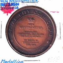 1960 Canada Royal City Coin Club Medallion - Antique Bronze Look