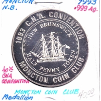 1993 Canada CNA 40th Annual Convention in Moncton Medallion - Silver Coloured