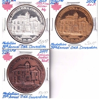 Group Lot of 2001 Canada ONA 39th Annual Convention in Guelph Medallions, 3Pcs