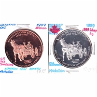 Pair of 1999 CNA 50th Annual Convention in Waterloo Medallions - Silver & Bronze