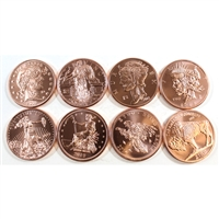 Zombie Copper 1oz. Set of 8 coins. All Different designs. 8pcs. No Tax