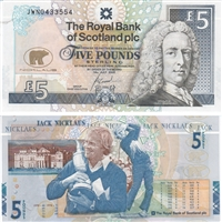 320ss 2005 Bank of Scotland Jack Nicklaus 5-pound banknote Uncirculated