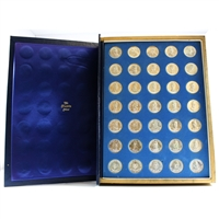 Franklin Mint Sterling Silver US Presidential 35-Medallion Set in Blue Album (impaired)