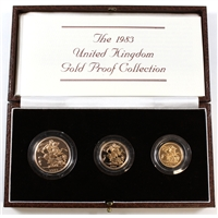 1983 United Kingdom 22k Gold 3-Coin Proof Set in brown case. 0.824oz of Pure Gold.