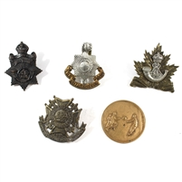 Group Lot of Assorted World Cap Badges and Medallion, 5Pcs