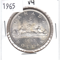 1965 Variety 4 (Large Beads, Pointed 5) Canada Silver $1 in MS-62 (UNC+) or better.