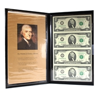 2003 USA $2 Uncut Sheet of 4 Notes in Brown Folder