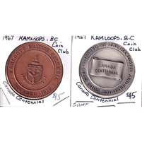 Pair of 1967 Canada Centennial Medallion by Kamloops Coin Club, 2Pcs