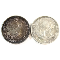 Pair of 1871-1971 British Columbia Commemorative Silver Tokens, 2Pcs (No Tax)