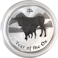 2009 Australia $1 1oz .999 Silver Year of the Ox (No Tax) Lightly Scuffed Capsule