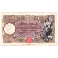 1939 Italy 500 Lire Note, VF-EF (Damaged)