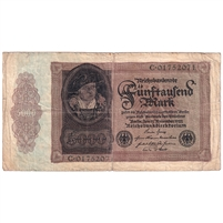 1922 Gemany 5000 Mark Note, VG-F (Tears)