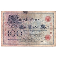 1903 Germany 100 Mark Note, Very Good (Damaged)