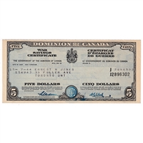 1944 Canada $5 War Savings Certificate, Named Ernest M Jones