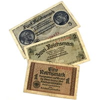 WWII Germany Paper Money 1,2 & 5 Reichsmark. 3pcs
