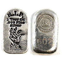 Monarch Precious Metals 2oz .999 Silver Zombie Hand Tombstone Bar (No Tax)