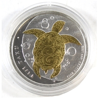 2013 Fiji $1 Taku Turtle 1/2oz. Silver with Gold-plated Turtle (No Tax)