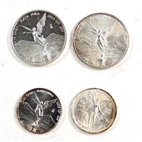 1992-2013 Mexico Libertad Fine Silver - 2x 1/20oz, 2x 1/10oz (No tax) lightly toned. 4pcs