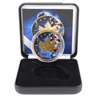 2018 Canada $5 Silver Maple Leaf - Blue Coloured with Gold Plating in Display (No Tax)