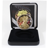 2015 USA Silver Eagle Gold Plated with Casino Colouring in Display Case (No Tax)