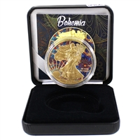 2018 USA Silver Eagle Gold Plated with Bohemia Colouring in Display (No Tax)