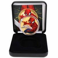 2017 Tuvalu $1 Silver Spiderman Colourized with Gold Plating in Display (No Tax)