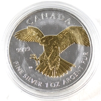 2014 Canada $5 Gold Plated Peregrine Falcon 1oz. .999 Silver (No Tax) scuffed capsule