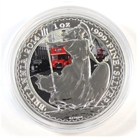 2014 GB 2-Pounds Britannia .999 Silver 1oz with London Background (No Tax) Impaired
