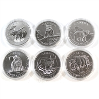 6x 2011-2013 Canada $5 Wildlife Series 1oz .999 Fine Silver (No Tax) - Light Toning