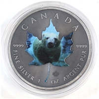 Unique 2015 Antiqued Polar Bear $5 Silver Maple Leaf with coloured depiction (No Tax)