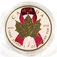 2016 Canada $5 Breast Cancer Pink Ribbon Gold Plated Silver Maple Leaf (No Tax)