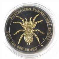 2015 Australia $1 Funnel-Web Spider with Gold & Ruthenium Plating (No Tax)